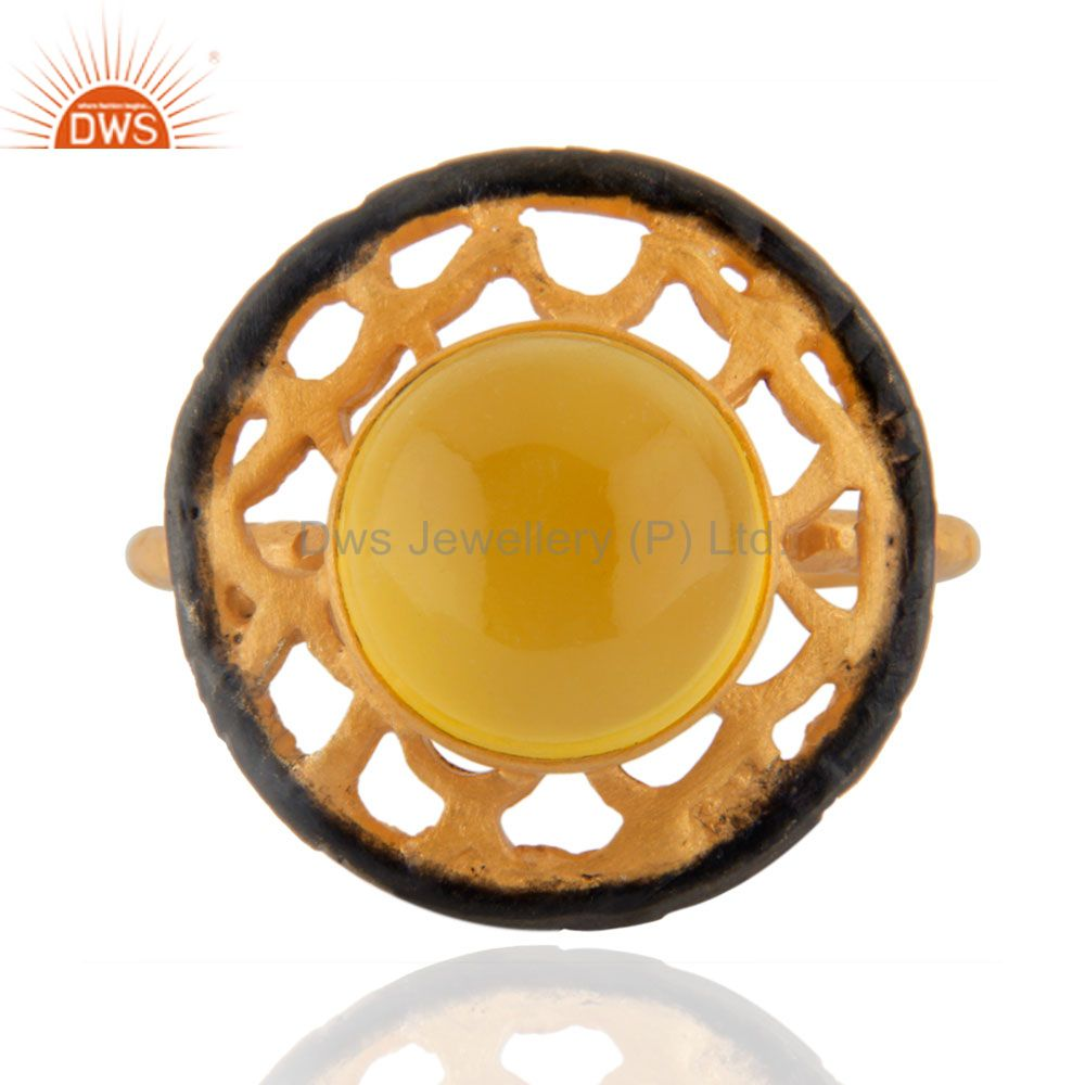 18kt Yellow Gold Plated Solid Metal Brass Round Yellow Chalcedony Cocktail Ring