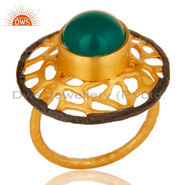 18kt Yellow Gold Plated Solid Metal Brass Round Green Onyx Cocktail Ring