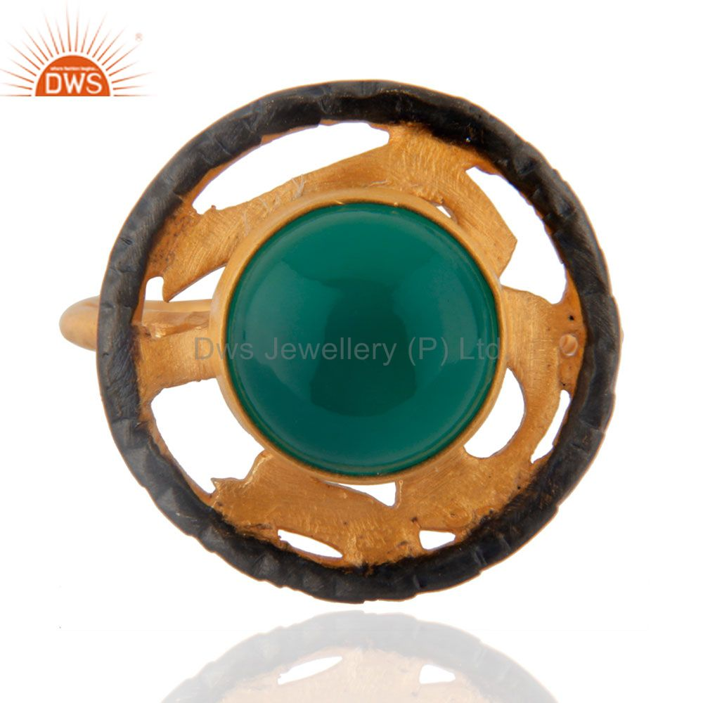 Natural Gemstone Green Onyx Emerald Color 18k Yellow Gold Plated Designer Ring