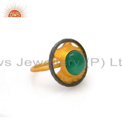Handmade Green Onyx Gemstone Cocktail Ring Made In 22K Yellow Gold Over Brass