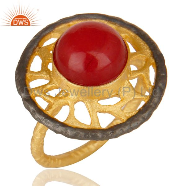 14K Yellow Gold Plated Handmade Wide Natural Red Aventurine Cocktail Brass Ring