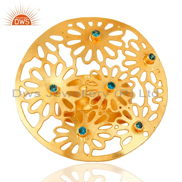 22K Yellow Gold Plated Blue Cubic Zirconia Filigree Patterns Cocktail Ring