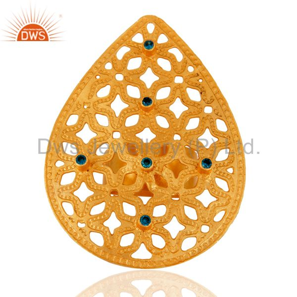 Hammered 24K Gold Plated Blue Cubic Zirconia Filigree Design Fashion Ring