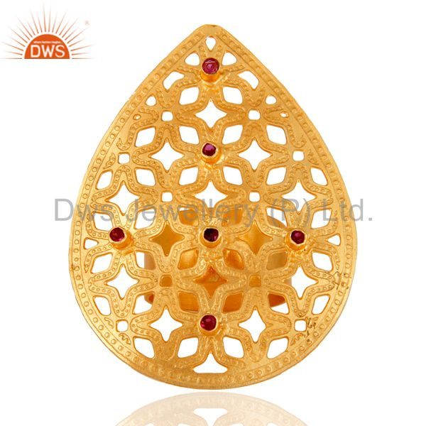 24 K Gold Plated Red Cubic Zirconia Filigree Designer Handmade Statement Ring