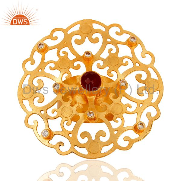 18K Gold-Plated Round Cut Red Aventurine & CZ Modern Filigree Cocktail Ring