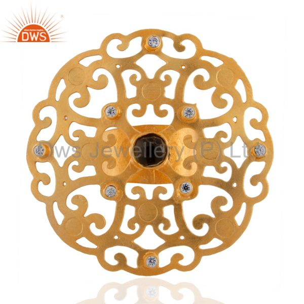 18k Yellow Gold Plated Large Round Filigree Modern Party Wear Rings