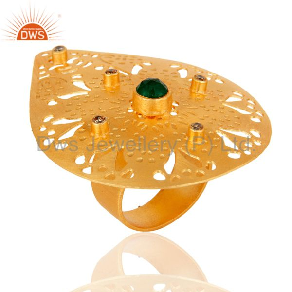 Green Aventurine 22K Yellow Gold Plated Modern Fashion Designs Cocktail Ring