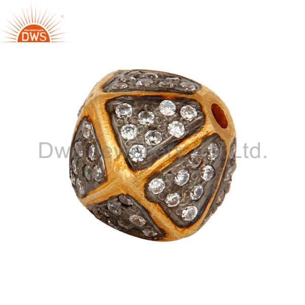 18K Yellow Gold Plated Pave Cubic Zirconia Designer Beads Jewelry
