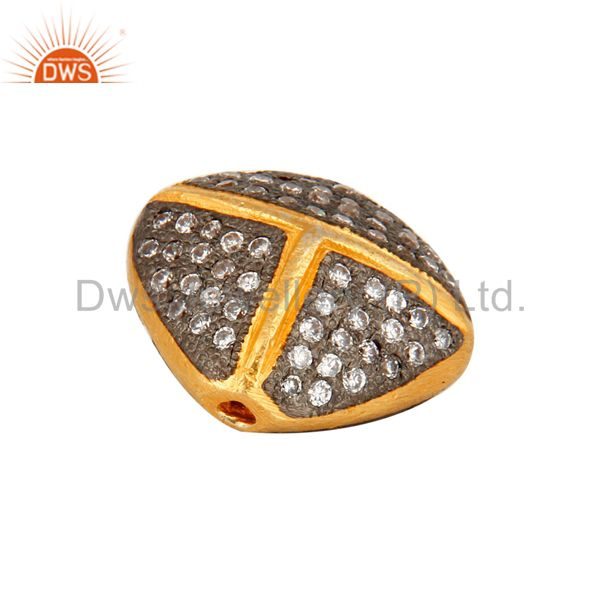 18K Yellow Gold Plated Over Brass Beads With White Cubic Zirconia