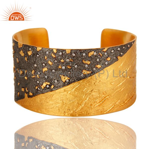 24k yellow gold and oxidized plated brass wide cuff bracelet / bangle with cz