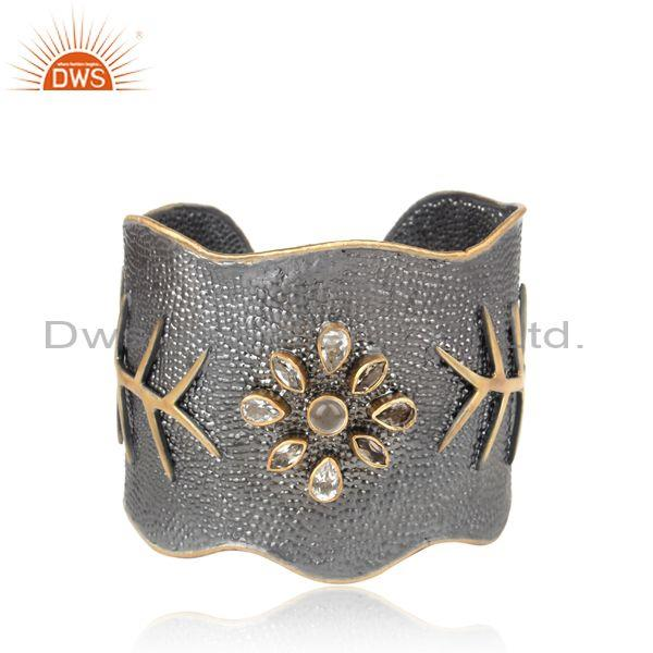 Smoky black & gold silver handmade floral design cuff bangle