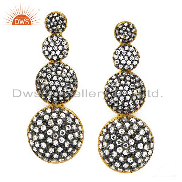 22K Yellow Gold Plated Sterling Silver Cubic Zirconia Fashion Dangle Earrings