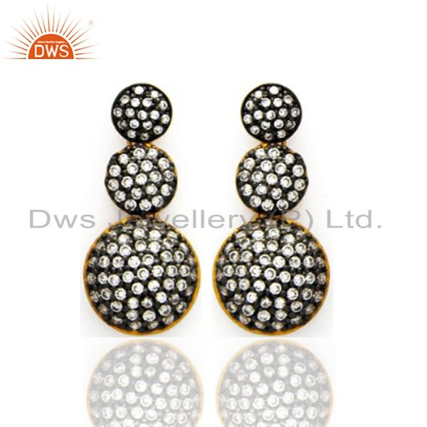 18K Yellow Gold Plated Cubic Zirconia Womens Fashion Post Stud Earrings