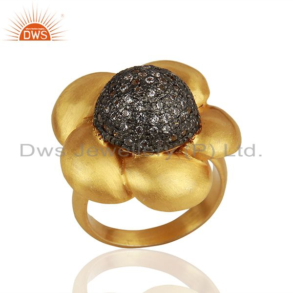 22K Yellow Gold Plated Brass Cubic Zirconia Designer Cocktail Ring