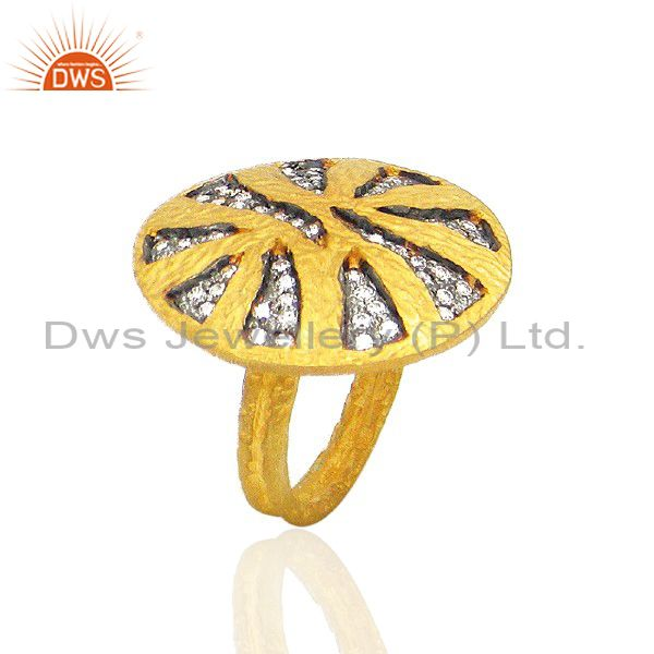 22K Yellow Gold Plated Brass Cubic Zirconia Designer Hammered Cocktail Ring