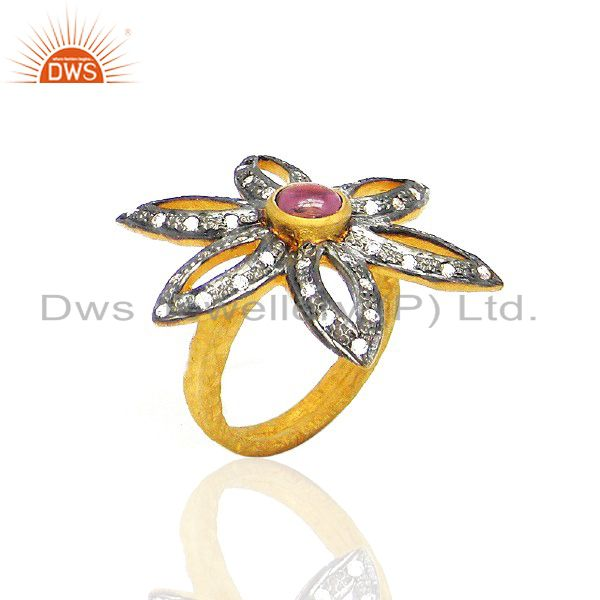 22K Yellow Gold Plated Brass Pink Tourmaline And CZ Flower Cocktail Ring
