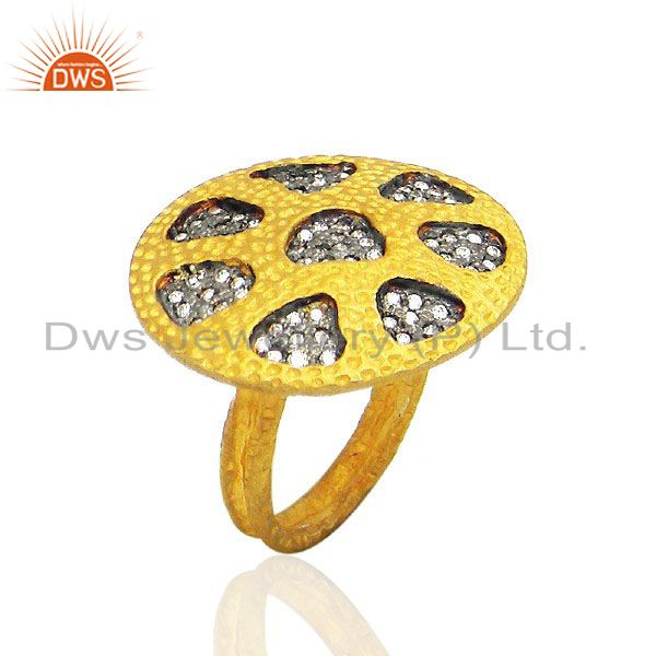 22K Yellow Gold Plated Brass Cubic Zirconia Textured Design Cocktail Ring