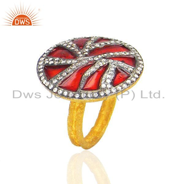 22K Yellow Gold Plated Cubic Zirconia Cocktail Fashion Ring With Red Enamel