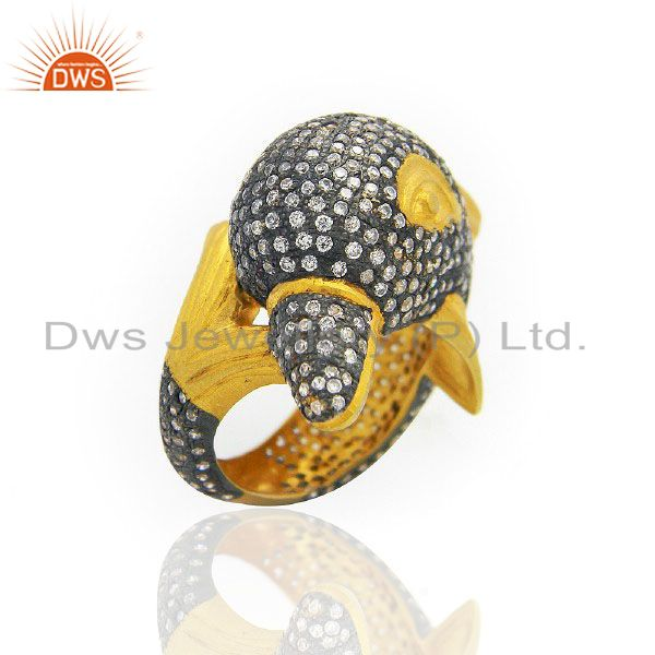 22K Yellow Gold Plated Brass Cubic Zirconia Birds Design Cocktail Ring