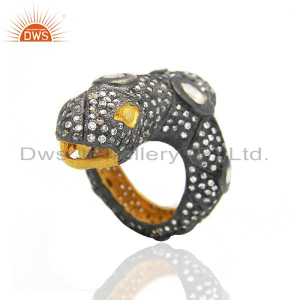 22K Yellow Gold Plated Brass CZ And Crystal Polki Victorian Style Snake Ring