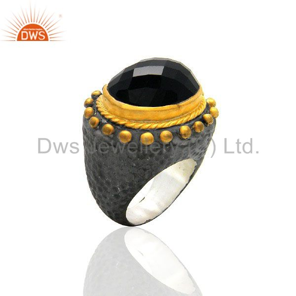Oxidized And 22K Yellow Gold Plated Brass Black Onyx Gemstone Dome Ring