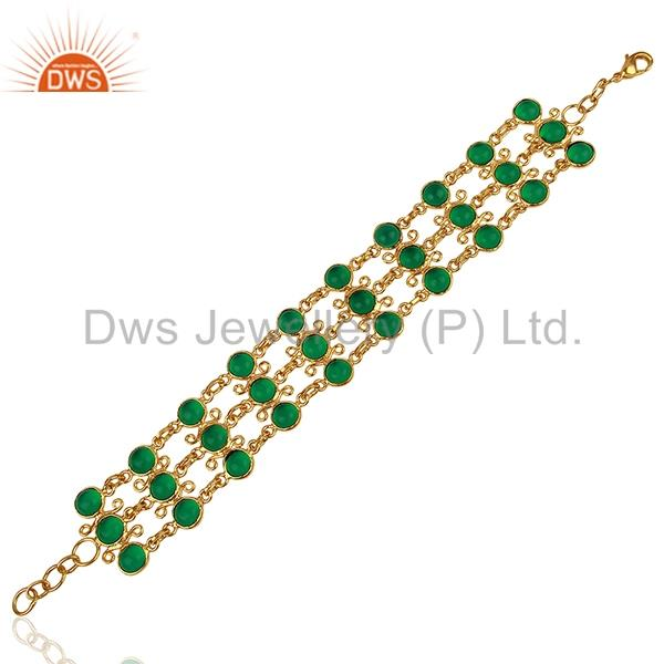 Hydro Emerald Gemstone Gold Plated Brass Chain Bracelet Jewelry