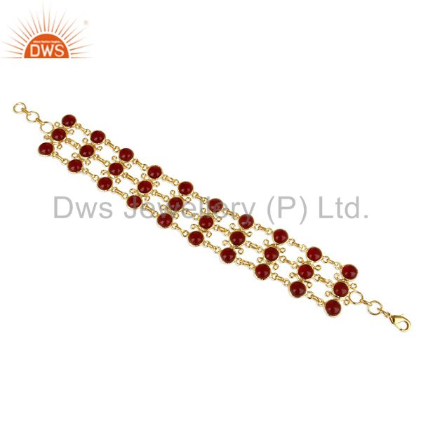14K Yellow Gold Plated Traditional Handmade Hydro Red Statement Bracelet