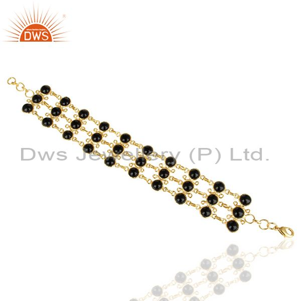 14K Yellow Gold Plated Traditional Handmade Black Onyx Statement Bracelet