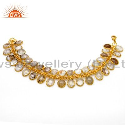 24K Yellow Gold Plated Brass Rutilated Quartz Designer Fashion Bracelet