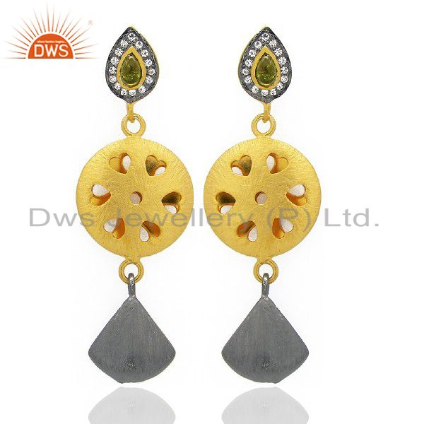 24K Yellow Gold Plated Brass Hydro Green And CZ Designer Fashion Earrings