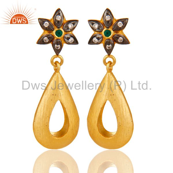 Green Onyx & White Zirconia 18K Yellow Gold Plated Handmade Design Brass Earring