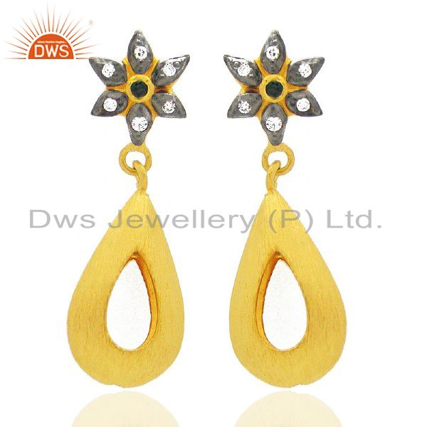 24K Yellow Gold Plated Brass Cubic Zirconia Fashion Open Teardrop Earrings