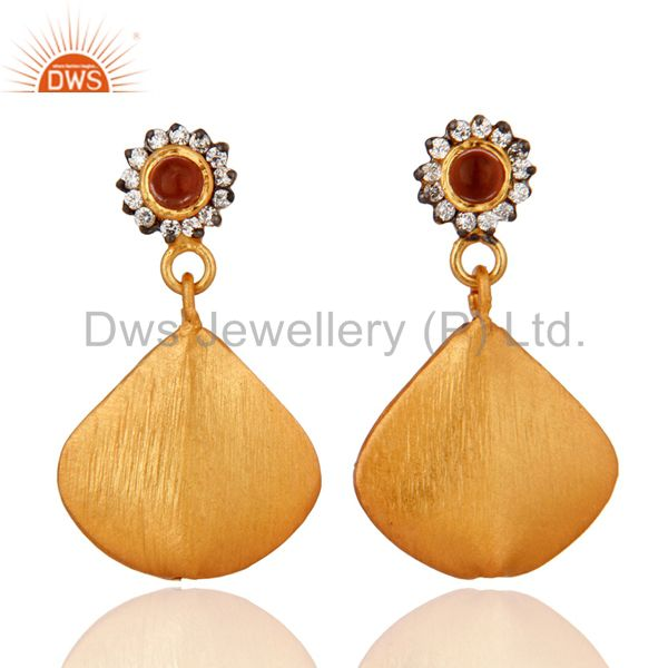 18K Yellow Gold Plated Handmade White Zircon Dangle Brush Finsh Earrings