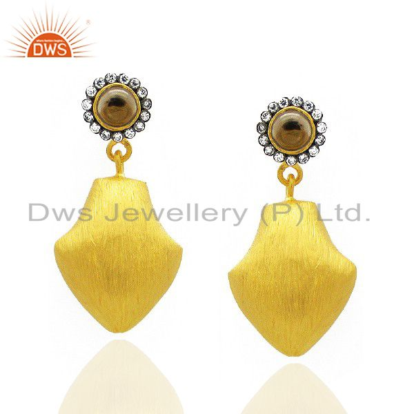 24K Yellow Gold Plated Brass Smoky Quartz And CZ Fashion Teardrop Earrings