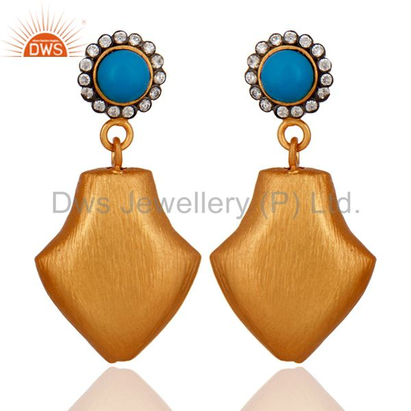 24k Yellow Gold Plated Turquoise Gemstone Dangle Earrings With White Zircon