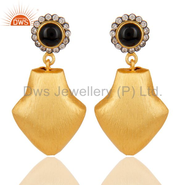 24k Yellow Gold Plated Dangle Brass Earrings With White Zirconia & Black Onyx