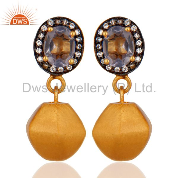 Hydro Iolite Gemstone And Cubic Zirconia Designer Earrings In 18K Gold On Brass
