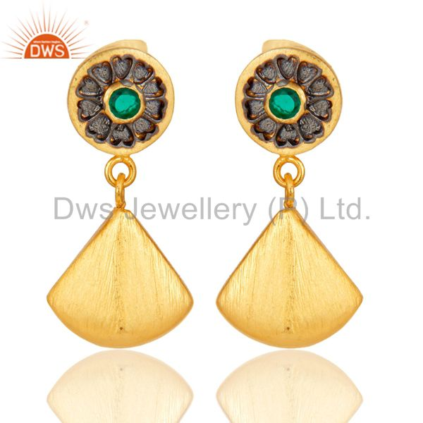 24K Yellow Gold Plated Brass Hydro Green Designer Fashion Dangler Earrings