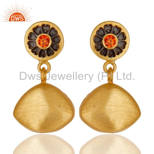 14K Yellow Gold Plated Handmade Heart Art Orange Zircon Dangle Brass Earrings