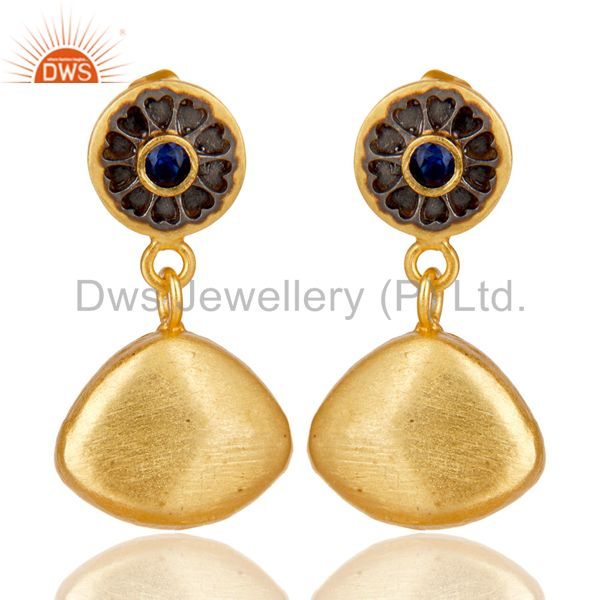 14K Gold Plated Traditional Handmade Zircon Blue Sapphire Dangle Brass Earrings