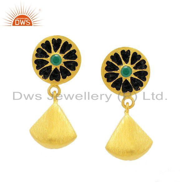 24K Yellow Gold Plated Sterling Silver Green Onyx Fashion Dangle Earrings