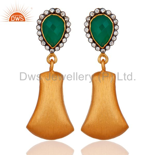 Handmade Traditional Green Onyx Gemstone 24K Gold Plated Brushed Brass Earrings