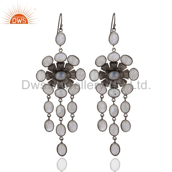 Womans Trendy Jewelry Rainbow Moonstone Rhodium Plated Party Earring Gift 4 Her