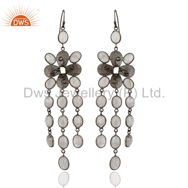 Handmade Rainbow Moonstone Chandelier Fashion Earrings With Rhodium Plated Brass