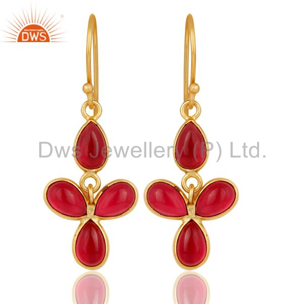 18K Yellow Gold Plated Handmade Pink Glass Bezel Set Drops Brass Earrings