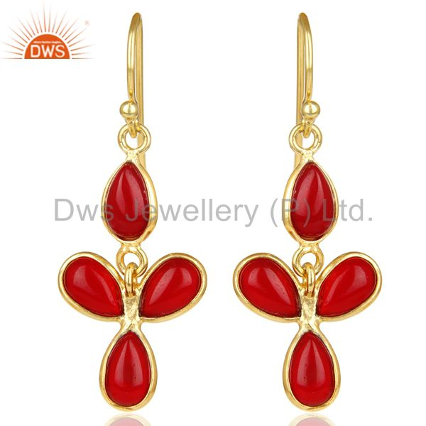 18K Yellow Gold Plated Handmade Red Hydro Stone Bezel Set Drops Earrings