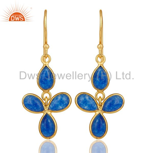 18K Yellow Gold Plated Handmade Blue Quartz Bezel Set Drops Brass Earrings