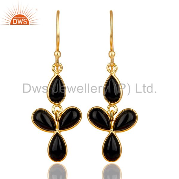 18K Yellow Gold Plated Handmade Black Onyx Bezel Set Drops Brass Earrings
