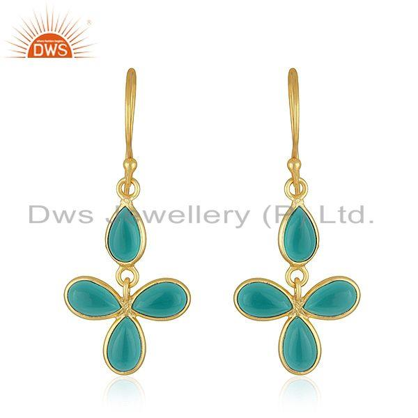 22K Yellow Gold Plated Brass Dyed Green Emerald Fashion Dangle Earrings