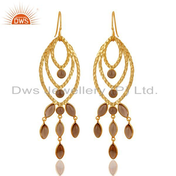 Traditional Handmade 14K Gold Plated Smokey Topaz Chandelier Brass Earrings